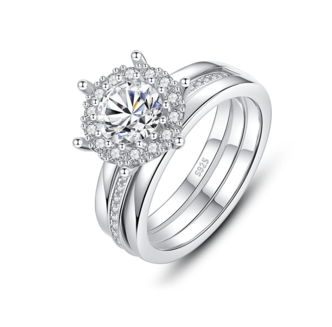 Vintage Inspired Double Silver Ring with Moissanite Stone