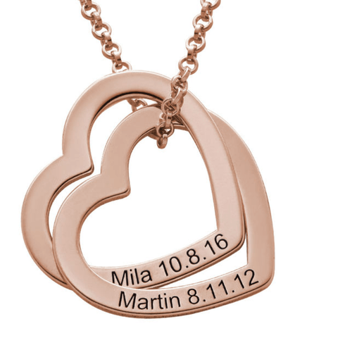 Personalised Interlocking Hearts Rose Gold Necklace