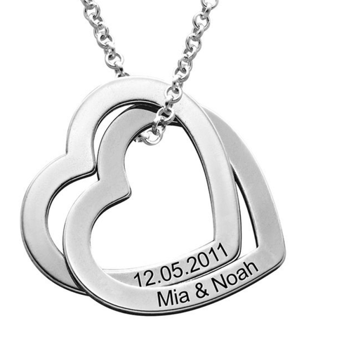 Personalised Interlocking Hearts Silver Necklace