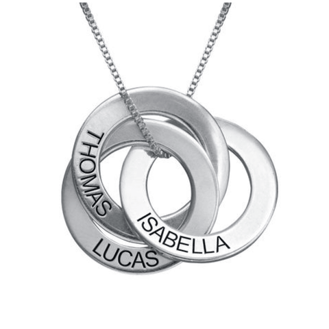 Personalised Russian Rings Silver Necklace