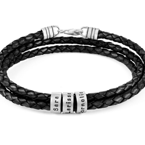 Men's Silver Leather Bracelet with Small Personalised Beads
