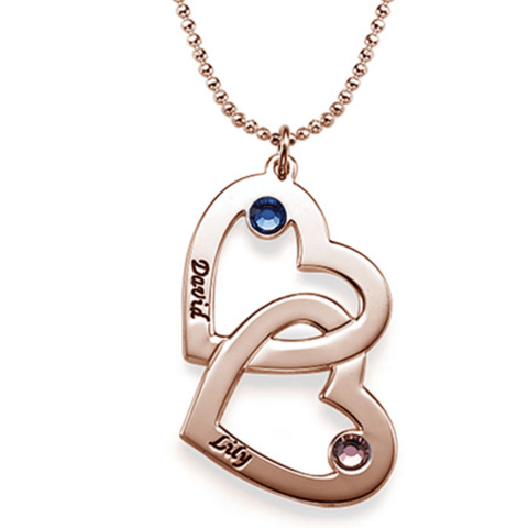 Personalised Double Heart Birthstone Necklace - Rose Gold