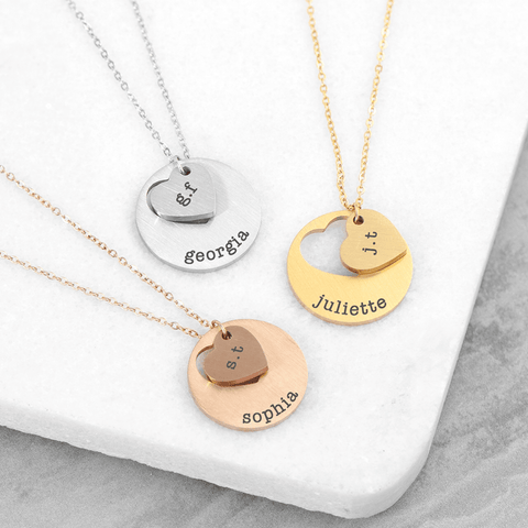 Personalised Cut-Out Heart Disc Necklace