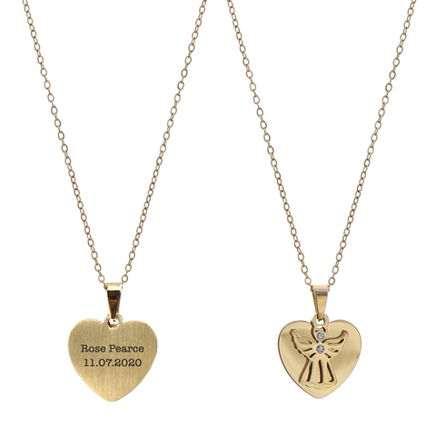 Personalised Heart Angel Necklace