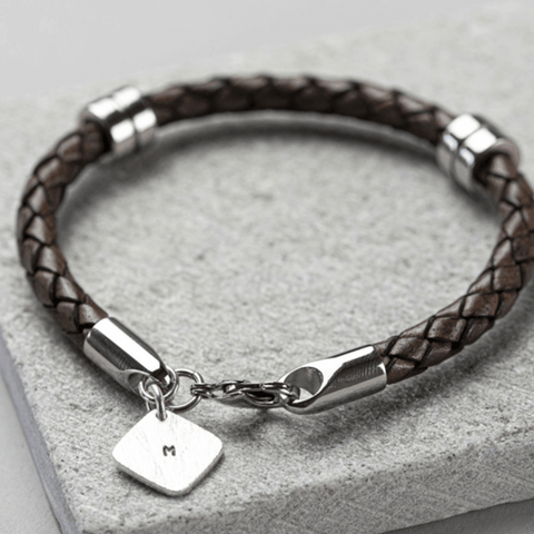 Men's Personalised Square Tag Leather Bracelet