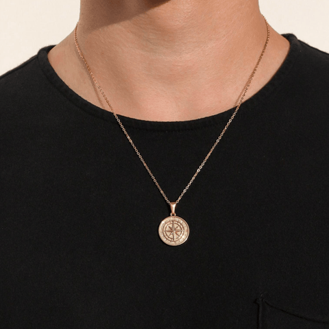 Gold Compass North Star Pendant Chain