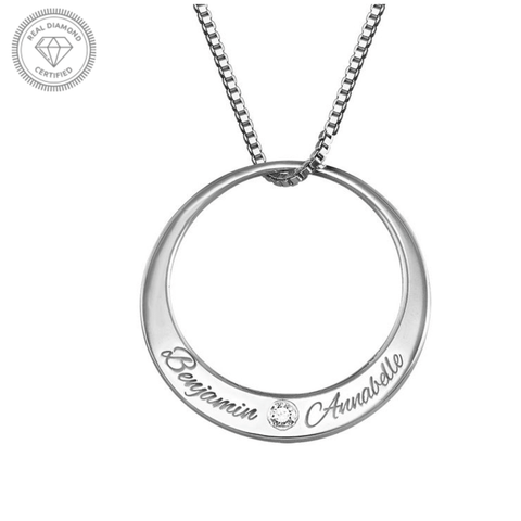 Personalised Silver Circle Diamond Necklace