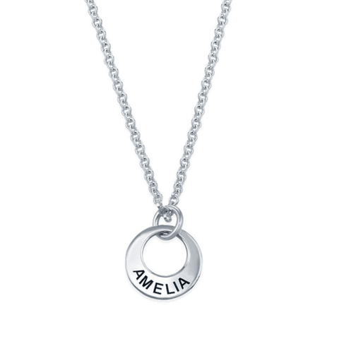 Personalised Silver Mini Disc Necklace