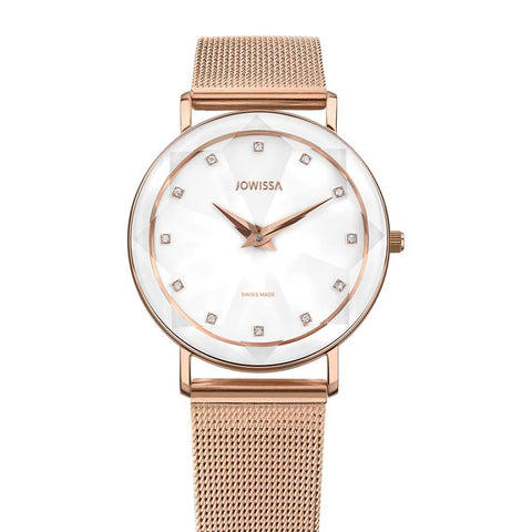 Rose Gold/White Facet Swiss Ladies Watch