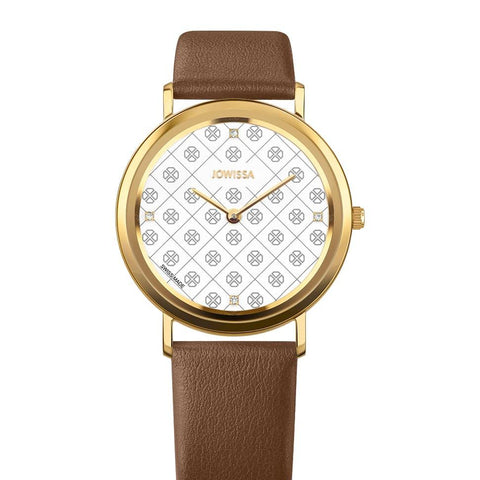 Brown/Gold AnWy Swiss Ladies Watch
