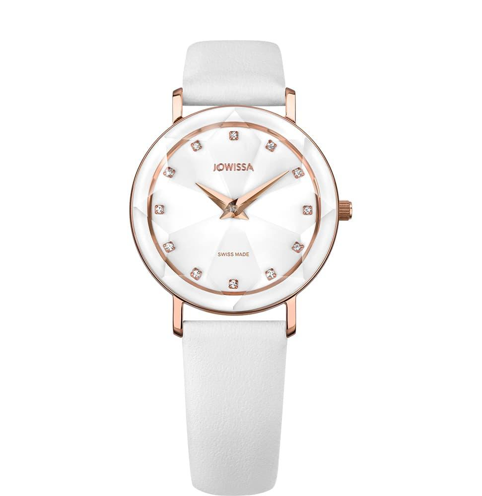 White Leather Facet Swiss Ladies Watch