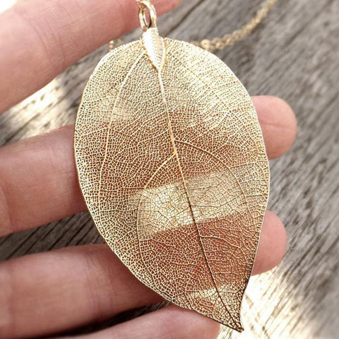 Natural Gold Leaf Necklace
