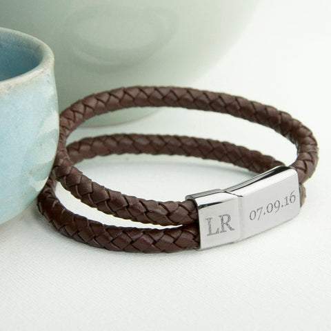 Men's Personalised Woven Leather Bracelet