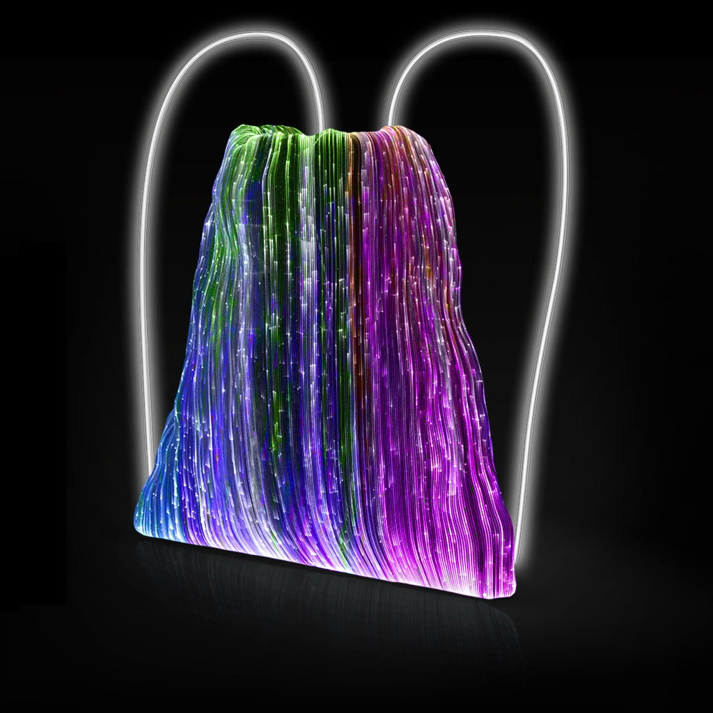 NEBULITE® Drawstring Backpack - White LIGHT-UP drawstrings