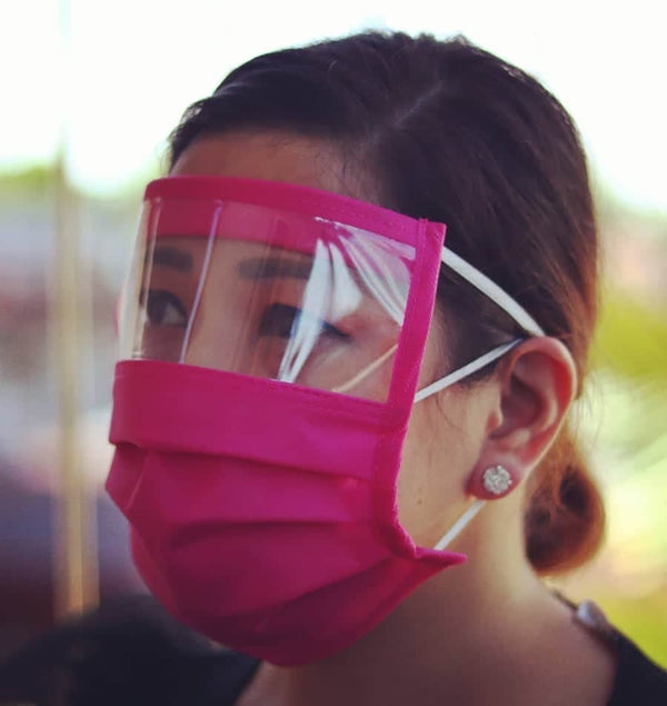 Eye Shield Face Mask, Covers Mouth, Nose and Eyes. Available in 6 Colors, Foam Forehead, Two Elastic Bands, Thick Acetate Covering for Eyes
