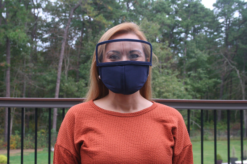 Eye Shield Face Mask, Removable Face Shield, 3 Ply Cloth, Filter Pockets. Covers Mouth, Nose and Eyes. Available in 7 Colors
