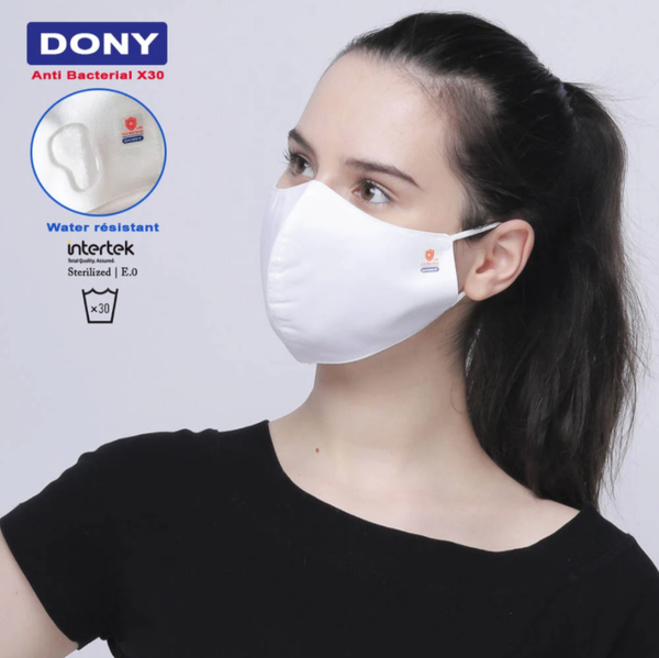 Bulk - Adult Size - White Antibacterial Cloth Sterilized Face Mask - 100 Qty