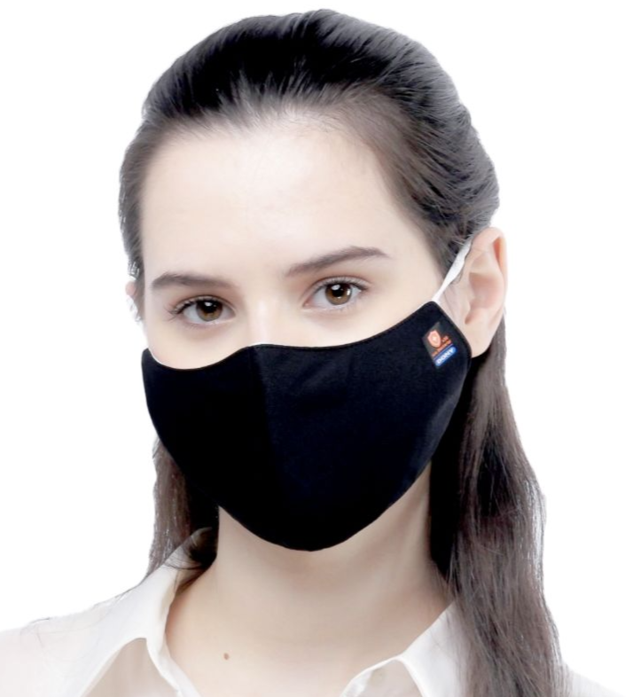 Bulk - Adult Size - Black Antibacterial Cloth Sterilized Face Mask - 100 Qty