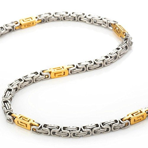 Stainless Steel Chain with Golden Accents