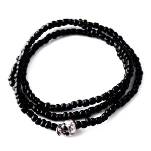 *Limited Edition* Black & Silver Skull Beaded - Bracelet & Necklace