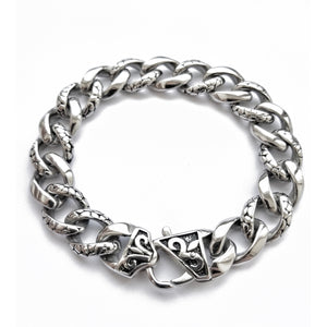 Stainless Steel Silver Plated Bracelet - Snake Skin Elements