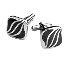 Load image into Gallery viewer, B&W Striped Cufflinks