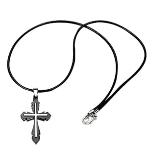 Stainless Steel Black Accent Cross Necklace