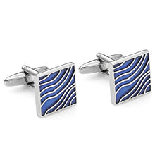 Load image into Gallery viewer, Blue Wave Enamel Cufflinks