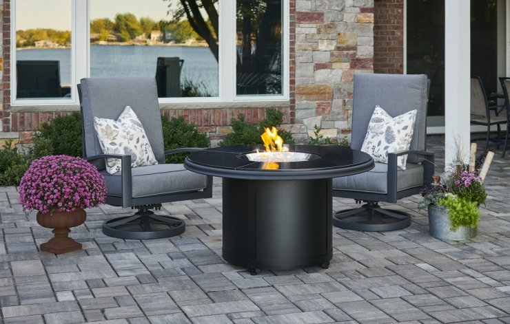 Black Granite Beacon Chat Height Fire Table