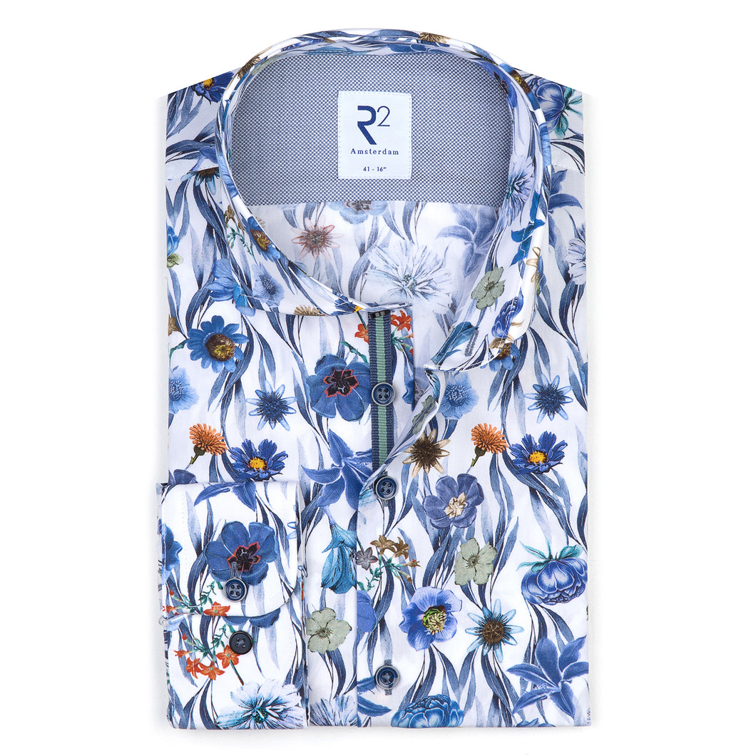 R2 Amsterdam - Floral on Blue Shirt
