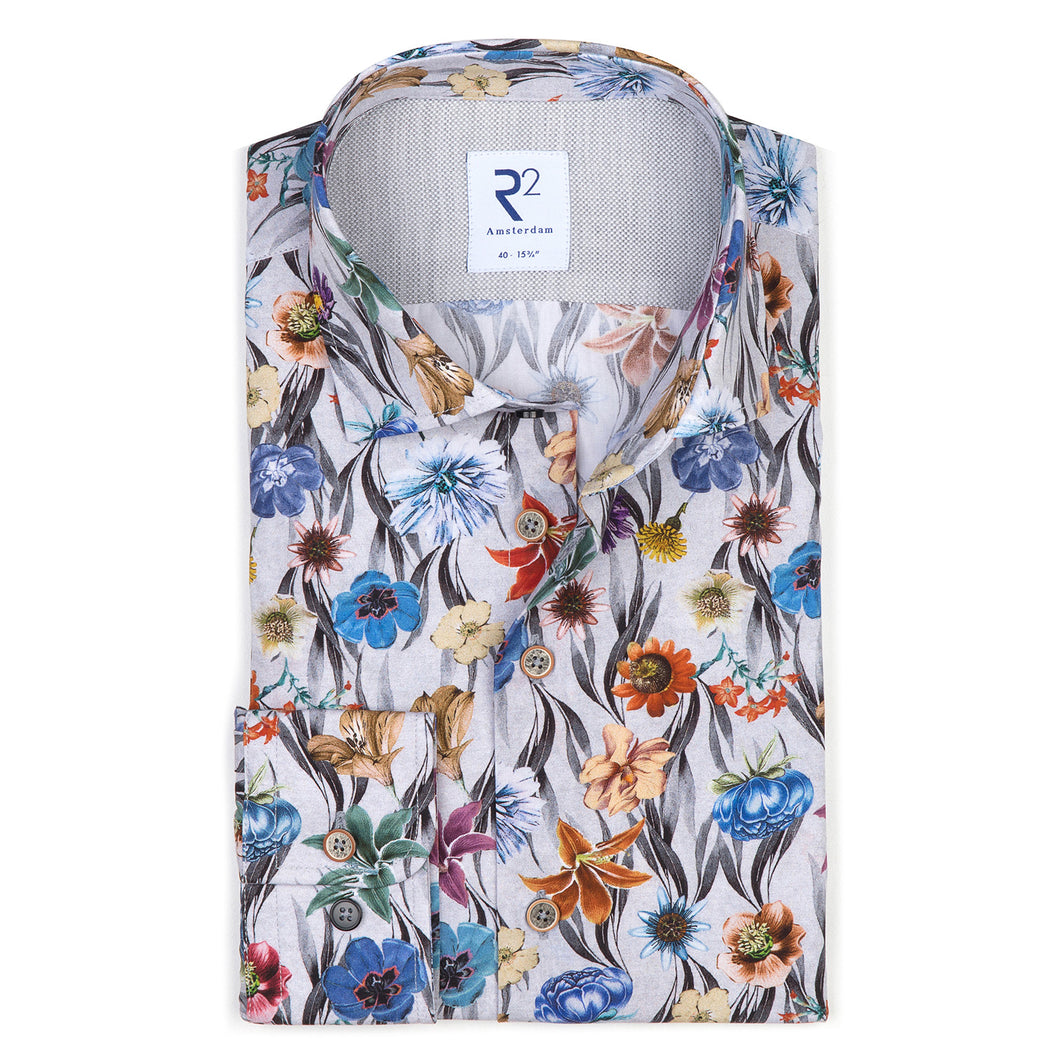 R2 Amsterdam - Colourful Floral/Black Shirt