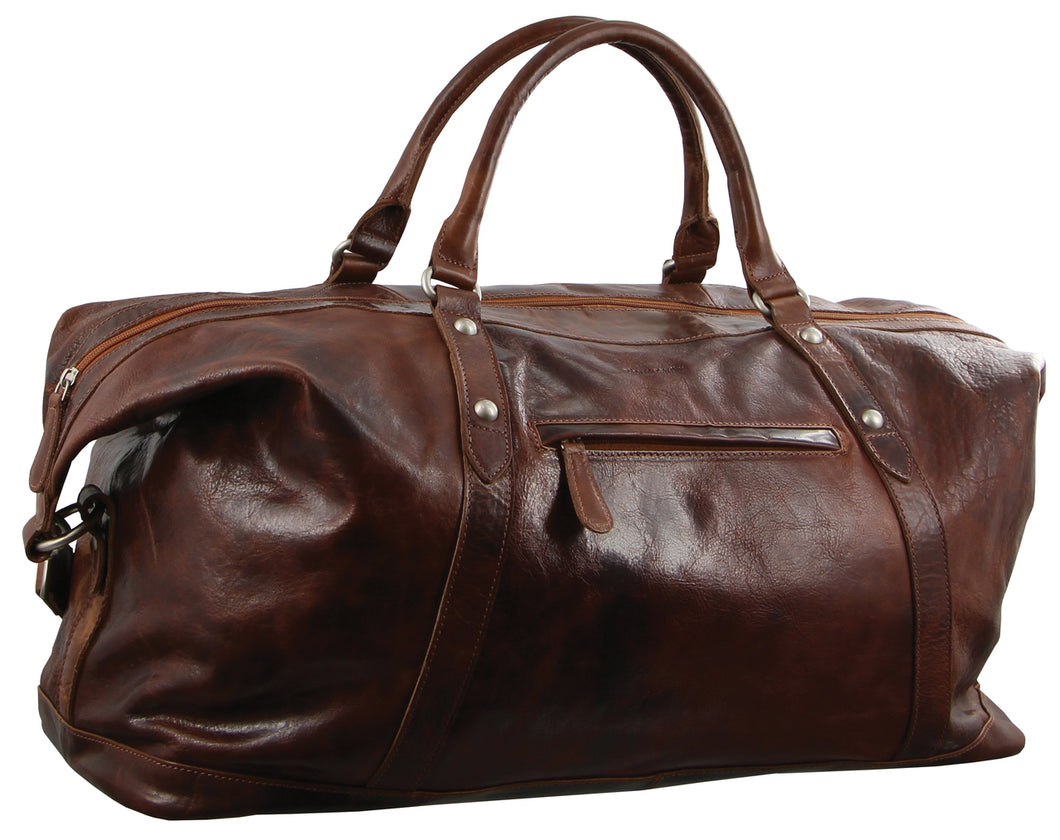 Pierre Cardin Cognac Leather Travel Bag