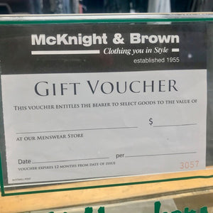 McKnight & Brown Voucher - Can be Used In Store Only
