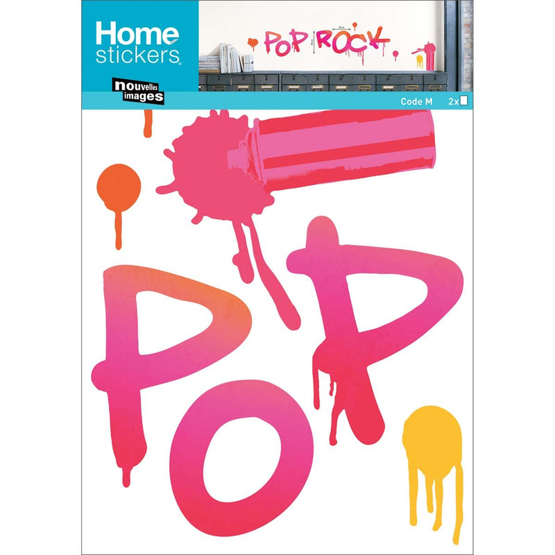 """Sticker mural Graffiti rose """"Pop Rock"""" """