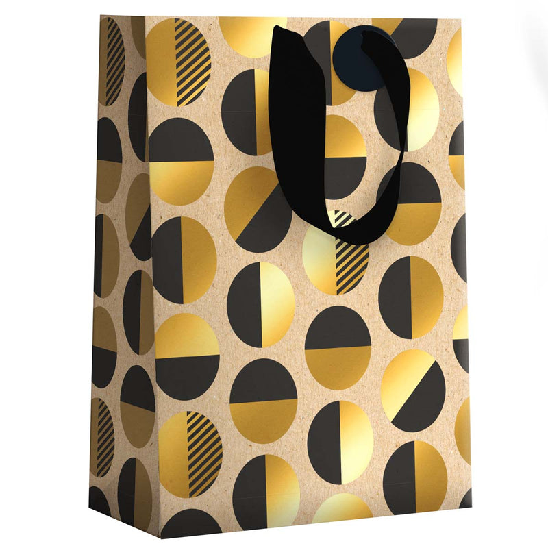 Sac Cadeau Grand format Ronds Black and Gold