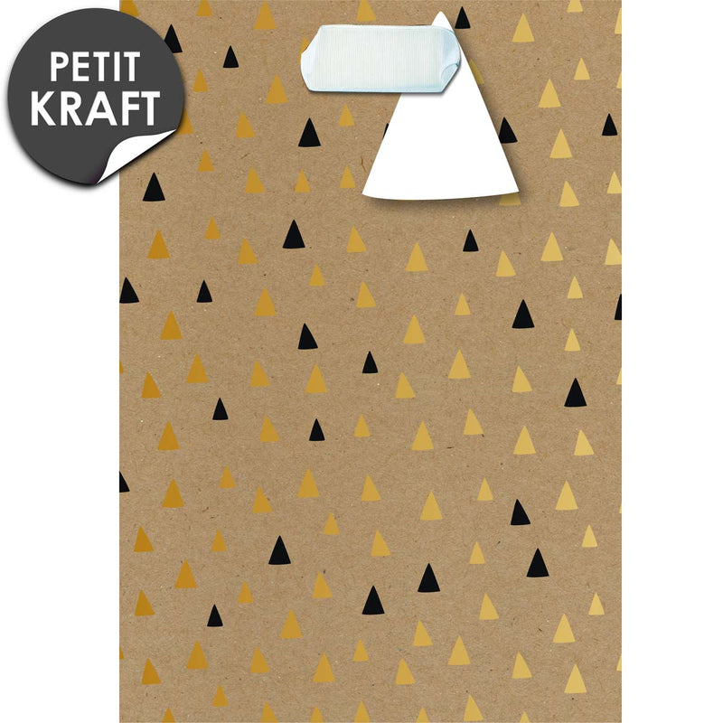 Sac cadeau kraft petit format Triangles Black & Go