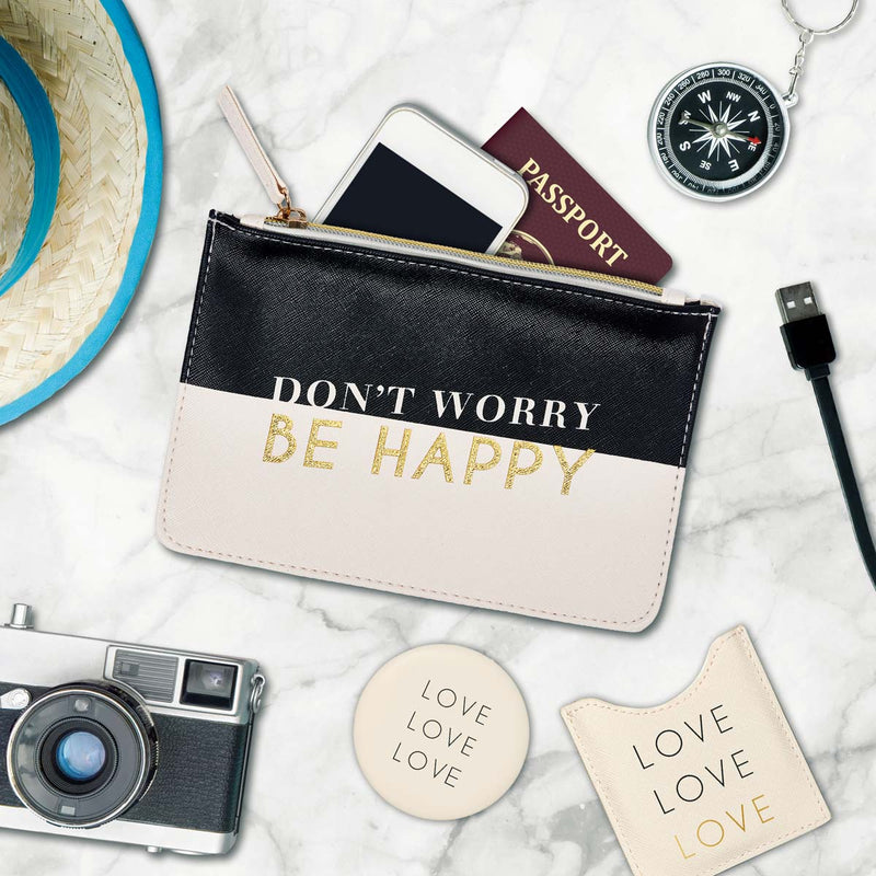 Lot Pochette & Miroir Don't worry be happy