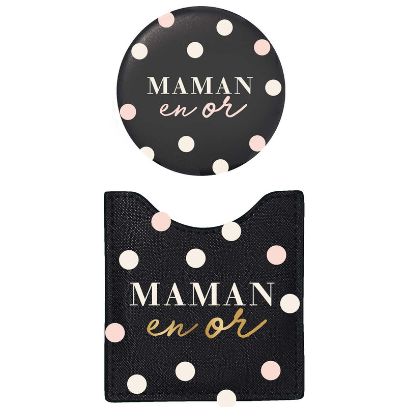 Lot Pochette & Miroir Maman en Or
