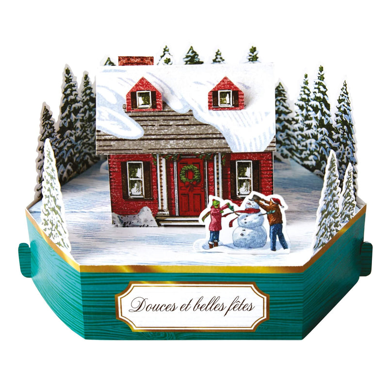 Carte de voeux Noël Pop up 3D - Neige