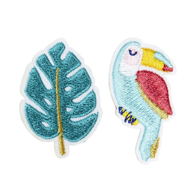 Broche brodée Toucan Monstera
