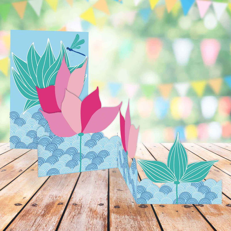 Carte pop up 3D Fleurs de lotus