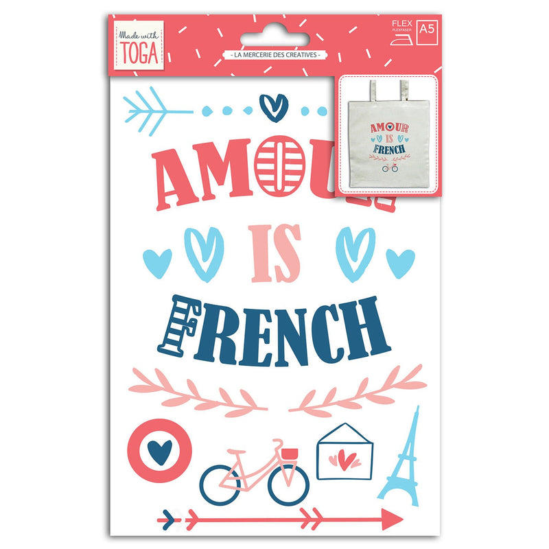 Transfert textile Amour is French