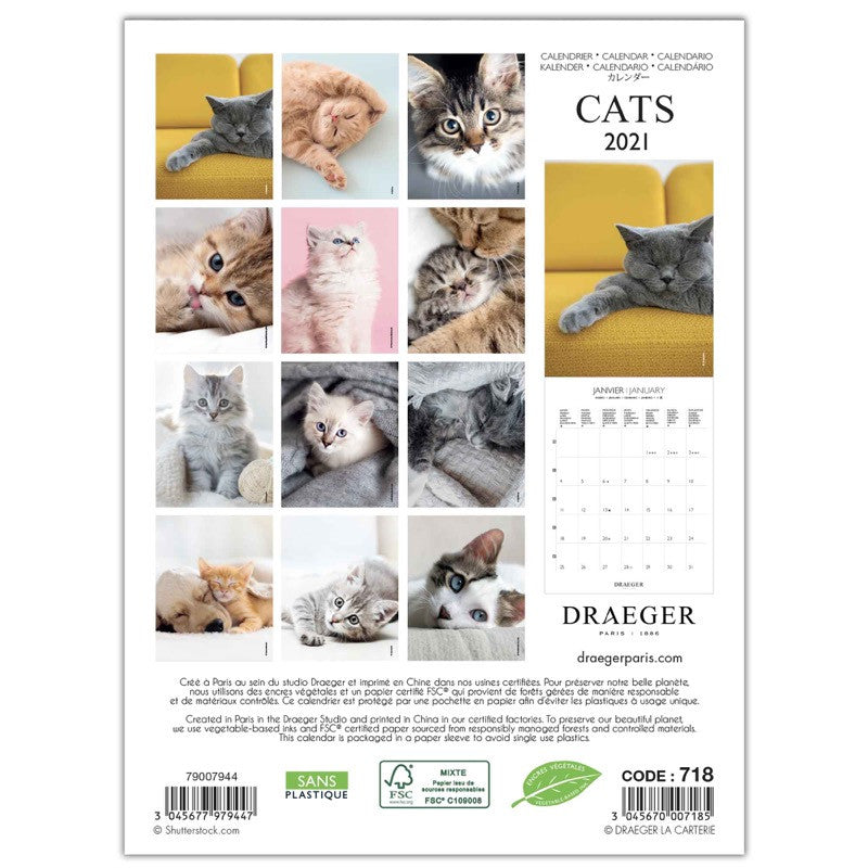 Petit calendrier mural 14x18 cm Chats 2021