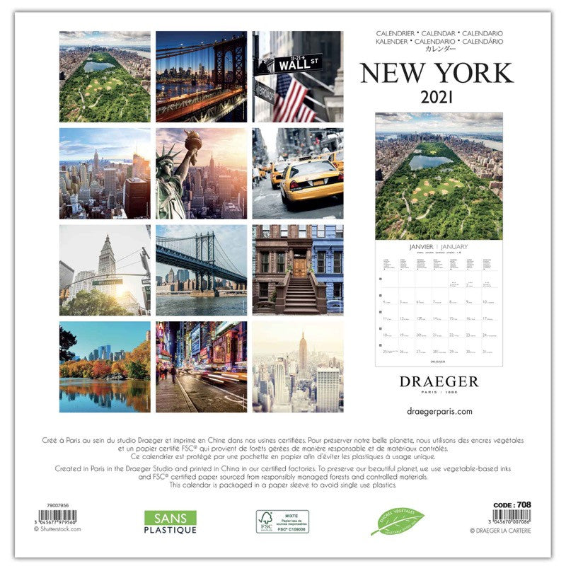 Grand calendrier mural 29x29 cm New York 2021