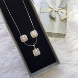 Studded Earring& Necklace Stainless Steel Set
