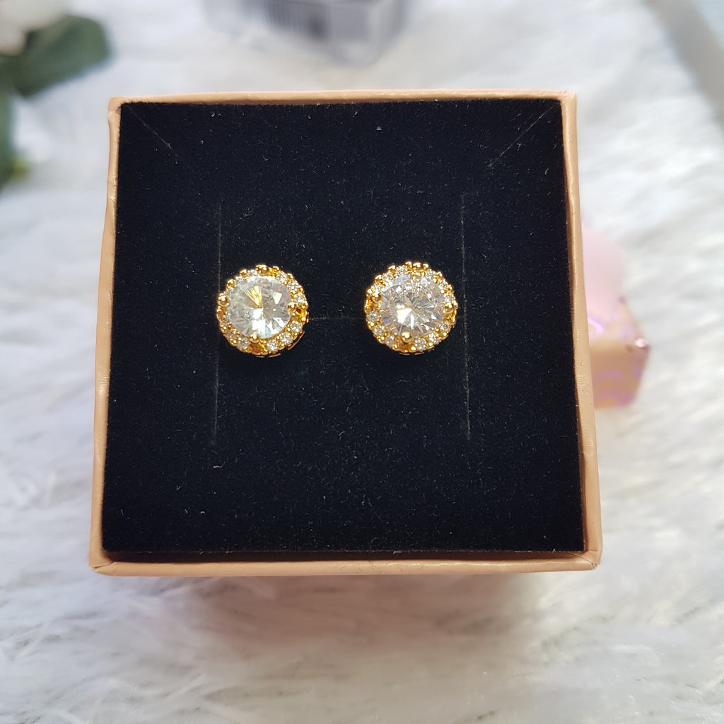 Gold Plated Halo Stainless Steel Stud Earrings