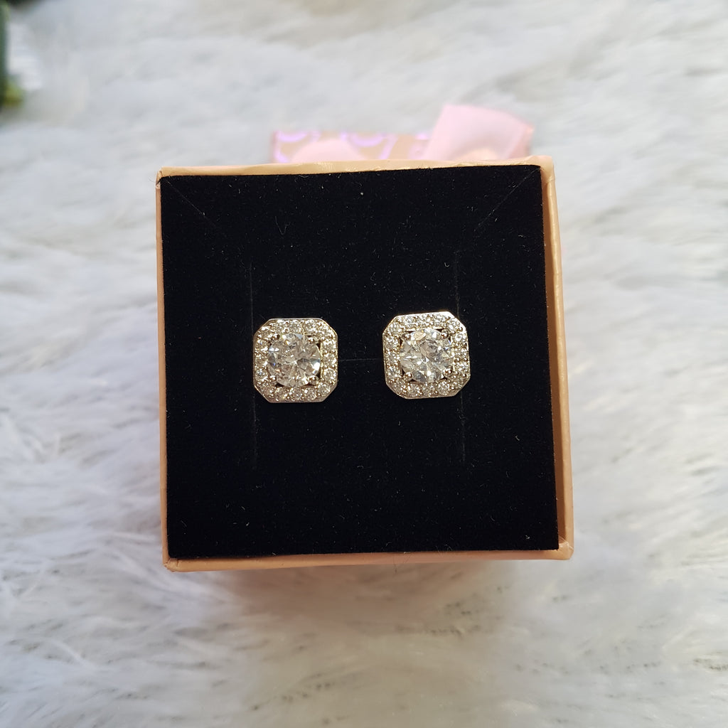 Silver Stainless Steel Stud Earrings