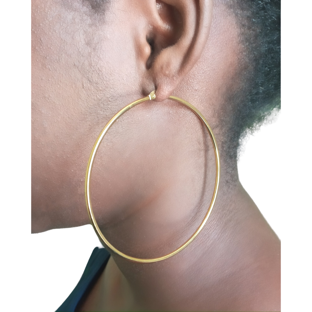 Gold Stainless Steel Hoop Earrings Large