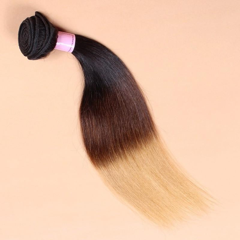 Beautilux Coloured Indian Hair Extensions Ombre 1B/ 4/27 Straight