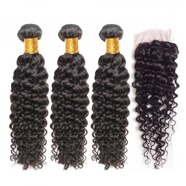 Luxurious Deep Curly 3 Bundle Deal + Lace Closure (16/18/20 inch)